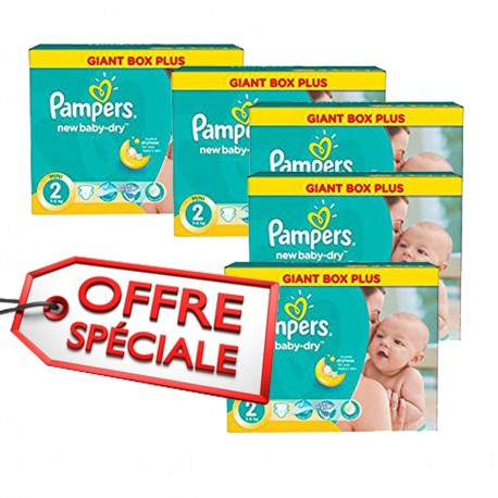 Pampers - Maxi pack jumeaux de 952 Couches New Baby Dry taille 2 sur Le roi 57776be3338